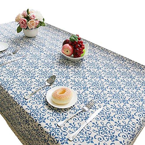 NiSeng Floral Imprimé Nappe pour Table rectangulaire d carrée/Nappes Anti Taches en Lin Nappe Décorative Bleu 140x220 cm