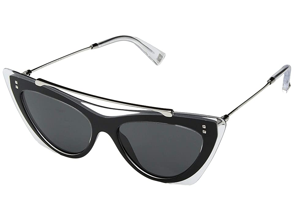 Valentino 0VA4041 (Crystal Black/Smoke) Fashion Sunglasses