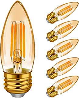 Dimmable E26 Chandelier Light Bulbs, Emotionlite LED Candelabra Bulbs, Amber Yellowish, 40W Equivalent Bulb for Ceiling Fan, 4W, 2200K, 300LM, Medium Base, UL Listed, 6 Pack
