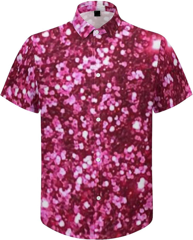 Men's Short Sleeve Button Down Shirt Abstract Pink Sparkling Summer Shirts