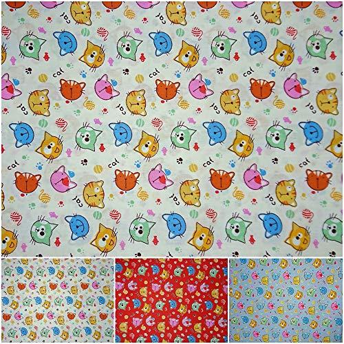 DIE NÄHZWERGE Baumwollstoff Motivkollektion [Bunte KATZENKÖPFE] – Meterware ab 50cm, 3 Farben | 100% Baumwolle – Nähen Quilten Kinderstoff Tiere Katze (Offwhite)
