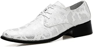 CAIFENG Business Men's Oxford Casual Fashion Snake Skin Upper Cómodo Soft Soft Pointed Formal Shoes (Color : Silver, Size ...