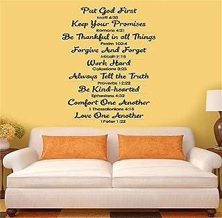 etiqueta de la pared Bible Put God First Mall 6:33 Cumple tus promesas Romanos 4:21 Sé agradecido en todas las cosas Salmos 100: 4 Para la sala de estar Dormitorio