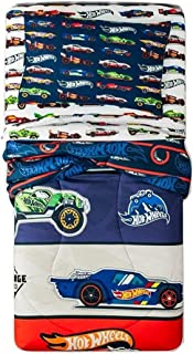 Hot Wheels 4 Piece Bedding Set Comforter + Sheets (Twin Size)