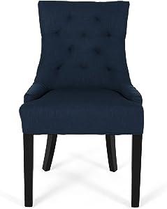 Christopher Knight Home Cheney Dining Chair, Navy Blue + Dark Brown