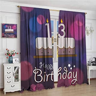 zojihouse 13th Birthday Hand Drawn Style Party Cake with Number Candles on Abstract Backdrop Blackout Curtains Blue Pink White Artwork Digital Print Drapes w72xL96
