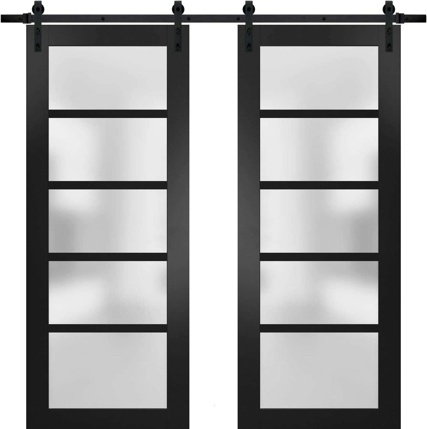 Sturdy Double Barn Door 36 x 80 inches with Frosted Glass Solid Panel Interior Doors Quadro 4002 Matte Black Top Mount 13FT Rail Hangers Heavy Set