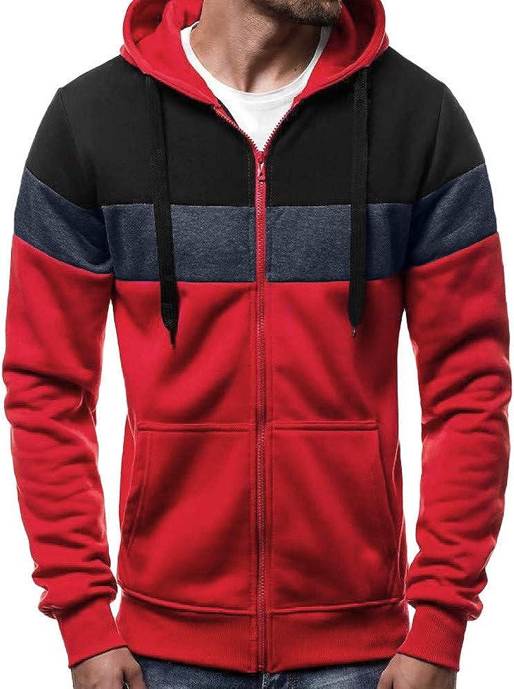 Mens Hoodies Zip Up Lightweight Casual Long Sleeve Contrast Color Pullover Hoodie Cozy Sport Outwear Hooded Sweatshirts