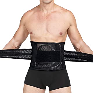 Slimerence Waist Trimmer for Weight Loss Lower Back Brace Boned Support Belt with Breathable Mesh Sweat Waist Trainer Sport Girdle Belt Fitness Workout Black M