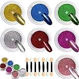 Polvo de uñas Cromado - DRMODE 7 ollas Juego de Pigmento de Uñas deTitanio Metálico,Pigmento de Manicura Efecto Espejo con Aplicador de uñas de 7 Piezas