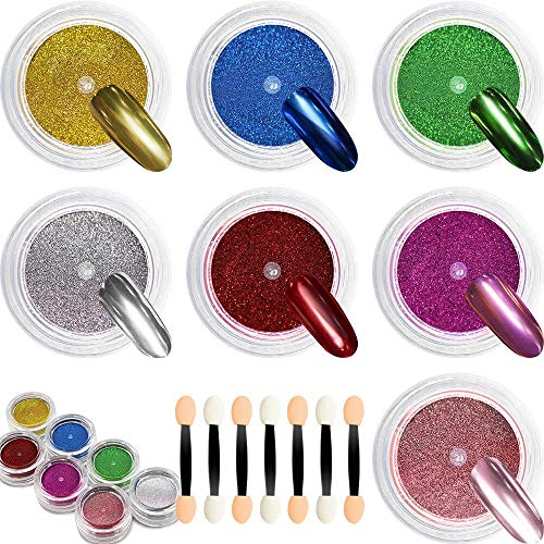 7 Jar Chrome Nails Powder - DR.MODE New Trend Mirror Nails Acrylic Powder Set, Metallic Titanium Chrome Nails Pigment Set with 7 Pcs Nail Art Applicator