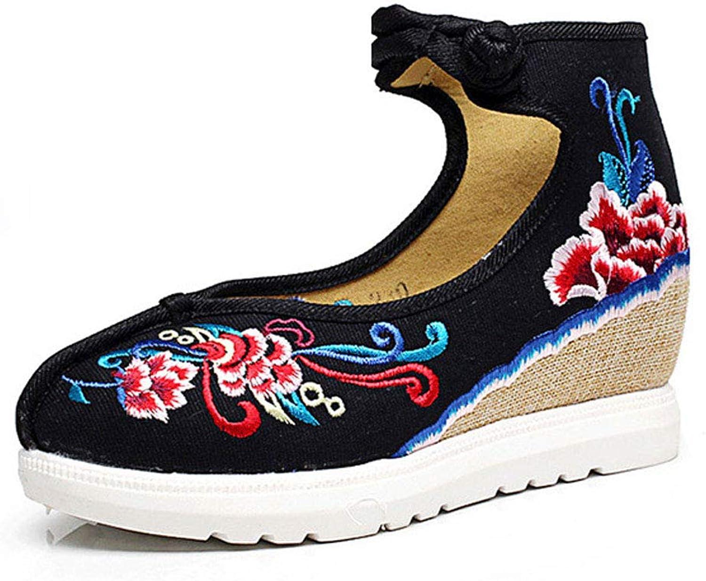 Retro Black Embroidered shoes Ladies Casual shoes 5cm Low Heel Women's shoes Non-Slip Mother shoes (color   Black, Size   38)
