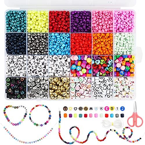 Komake Perline da 4 mm, Colori Misti (2400 Pezzi), Numeri da 6 mm, Perline da 720 Pezzi, Braccialetto per Gioielli Fai da Te, Filo Elastico da 5 m e Forbici per Bambini (3120 Perline)