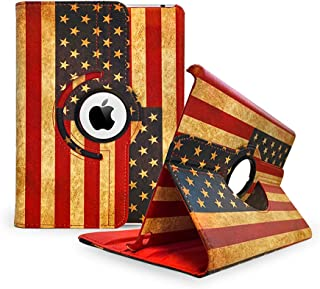TCD iPad Air USA Vintage Rustic American Flag 360 Pu Leather Cover Stand Case with Stylus Pen and Screen Protector