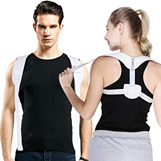 Posture Corrector for Women & Men - Upper Back Brace for Providing Pain Relief from Slouching & Hunching - Adjustable Shoulder Straightener (White)