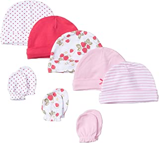 5294a4cbc63 Hudson Baby Baby Girls  Cotton Cap and Scratch Mitten Set