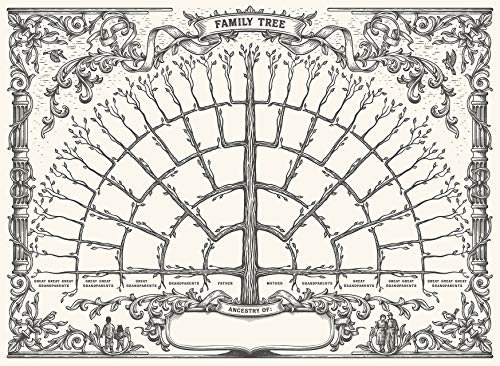 """1 Pack - Family Tree Chart To Fill In - 6 Generation Genealogy Poster - Blank Fillable Ancestry Chart [Version 1] - 18"""" x 24"""""""