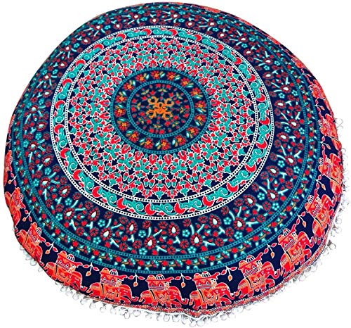 Gokul Handloom Elephant and Peacock Designs Large Round Pillow Cover Decorative Mandala Pillow Sham Indian Bohemian Ottoman Poufs Cover Pom Pom Pillow Cases Outdoor Cushion Cover