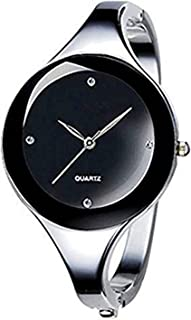 Vavna Womens Ladies Stainless Steel Black Dial Bracelet Bangle Wrist Watch Quartz
