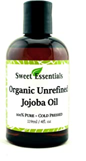 Premium Organic Unrefined Jojoba Oil, 4oz, Imported From Argentina, 100% Pure, Cold Pressed - For Hair, Skin & Nails - Best Natural Moisturizer - Hexane Free
