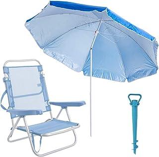 LOLAhome Pack de Silla con sombrilla de Playa y Soporte de Aluminio y textileno (Azul)