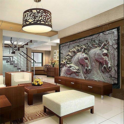 Lwcx 3D Wallpaper Home Decoration Hintergrund Pferdeskulptur Metal Stil Hotel Badezimmer Große Kunst Wandbilder 3D Wallpaper 150 X 105 CM