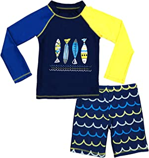 Boys Two Piece Rash Guard Swimsuits Kids Long Sleeve...