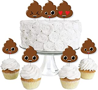 Party 'Til You're Pooped - Dessert Cupcake Toppers - Poop Emoji Party Clear Treat Picks - Set of 24