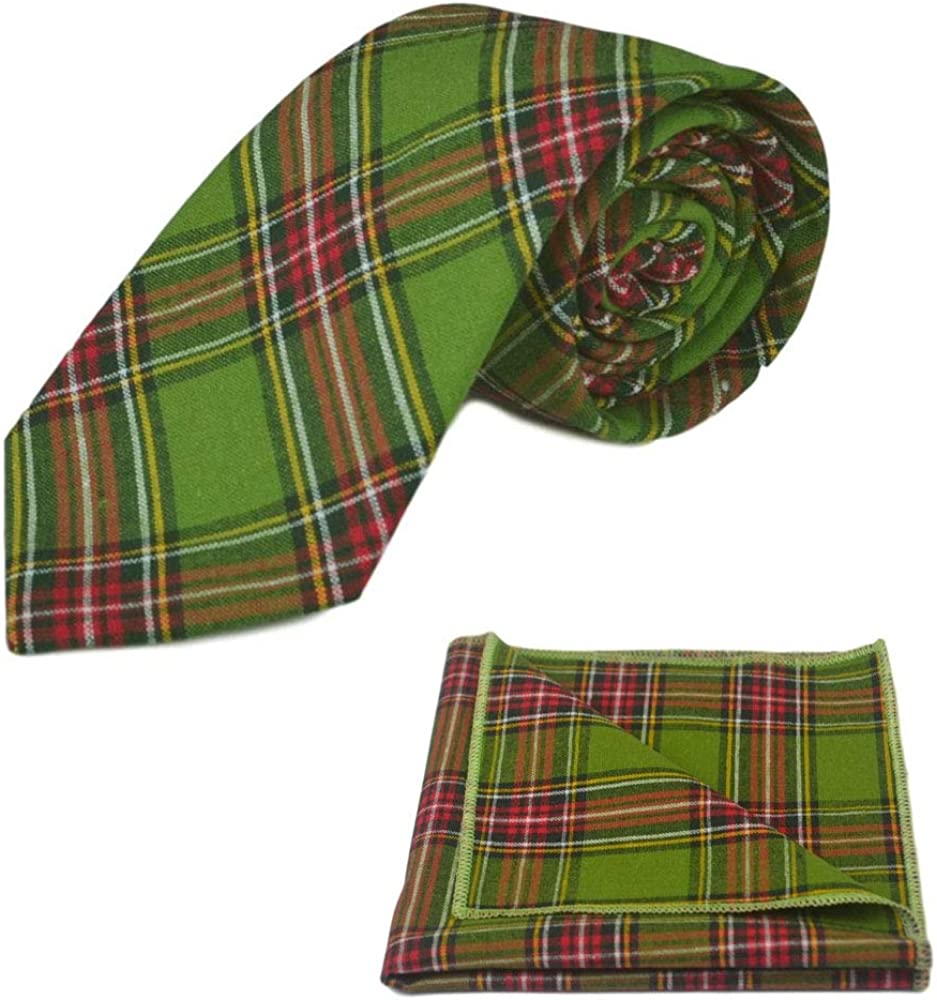 Traditional Green Tartan Necktie & Pocket Square Set, Check, Plaid