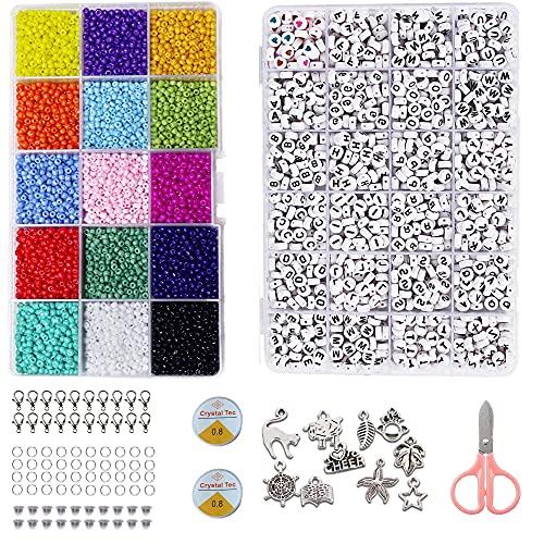 Perlas de colores,Mini Cuentas Abalorios Cristal,Cuentas para Hacer Collares,cuentas de cristal para...