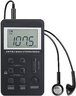 Portable AM/FM Pocket Radio, Skwpepe Mini Digital Tuning Walkman Radio, with Rechargeable Battery, Earphone, Lock Screen f...
