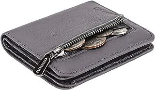 Women's Rfid Blocking Small Compact Bifold Leather Pocket Wallet Ladies Mini Purse with id Window (Natural Dark Grey)