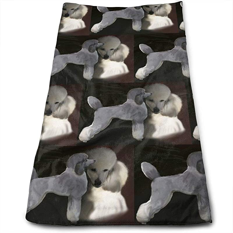 Winlock Poodles In Grey And White Multi Purpose Microfiber Towel Ultra Compact Super Absorbent And Fast Drying Sports Towel Travel Towel Beach Towel Perfect For Camping Gym Swimming