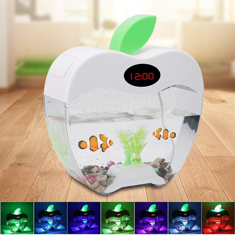 BEITAI USB Mini Desktop Aquarium Fish Tank Aquarium with LED Lamp Light LCD Display Screen and Clock Fish Tank Aquarium (color   White)