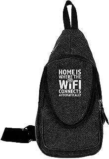 Arvolas Sling Bag Crossbody Home es Donde el WiFi se Conecta automáticamente Hombro de Lona Bolsa de Pecho Antirrobo para ...