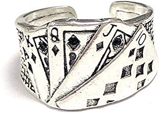 caiyao Punk Cool Poker Playing Cards Cubic Zircon Crystal Open Adjustable Finger Ring Hip Hop Lucky Spade Band Minimalist ...