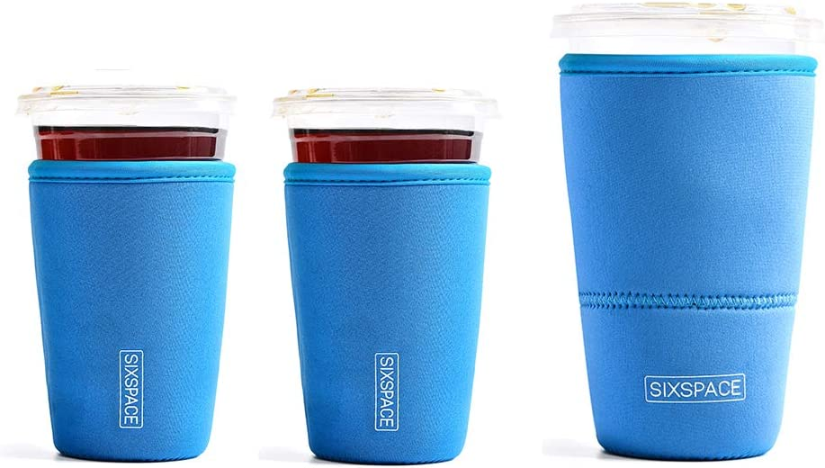 More GoCuff Reusable Coffee Cup Insulator Sleeve with Handle for Beverages and Neoprene Holder for Starbucks McCafe Dunkin Donuts coffee smile repeat, 1 Medium, Large