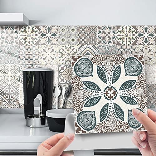 DriSubt Pegatinas para azulejos, baldosas de mármol de cerámica, autoadhesivas, baldosas vintage, PVC resistente al agua, para decoración del hogar, sala de estar, cocina, baño (72,15 cm x 15 cm)