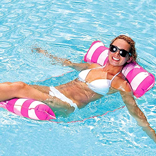 GUBOOM Hamaca Flotante, Hamaca de Agua 4 en 1 Tumbona Flotante Hamaca Flotante Colchoneta Piscina Tumbona Colchoneta Piscina Adultos Cama Flotante de Agua (Rosa)