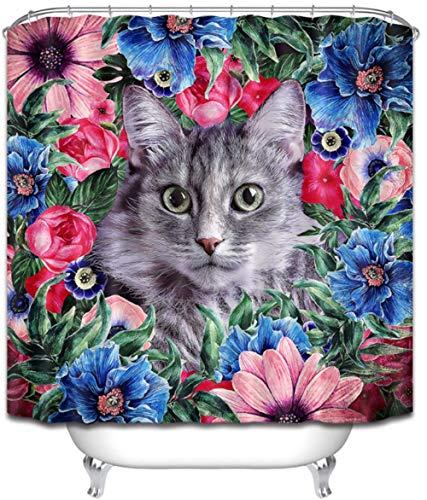 lxwrnv Kitty Duschvorhang Bunte Duschvorhang Girlande Bad Wasserdicht Duschvorhang Polyester 12 Haken Bad Set 3D Duschvorhang Blau Duschvorhang-72x72inch