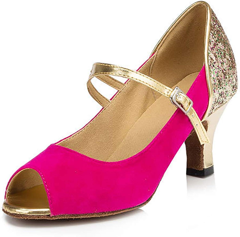 Glitter Peep Toe Suede Sole Indoor Ladies Tango Latin Salsa Ballroom Modern Lumba Dance shoes,Red(Heel 7.5cm),35EU