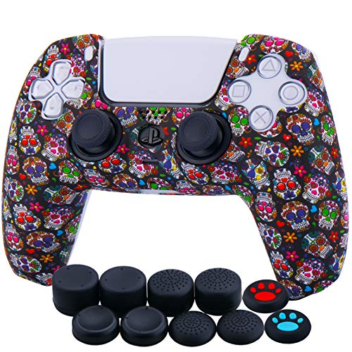 YoRHa Water Transfer Printing Silicone Thickened Cover Skin Case for Sony PS5 Dualsense Controller x 1(Madeup Skulls II) with Thumb Grips x 10