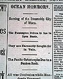 CITY OF WACO Steamship Galveston Texas SINKING & Haunted House 1875 Newspaper