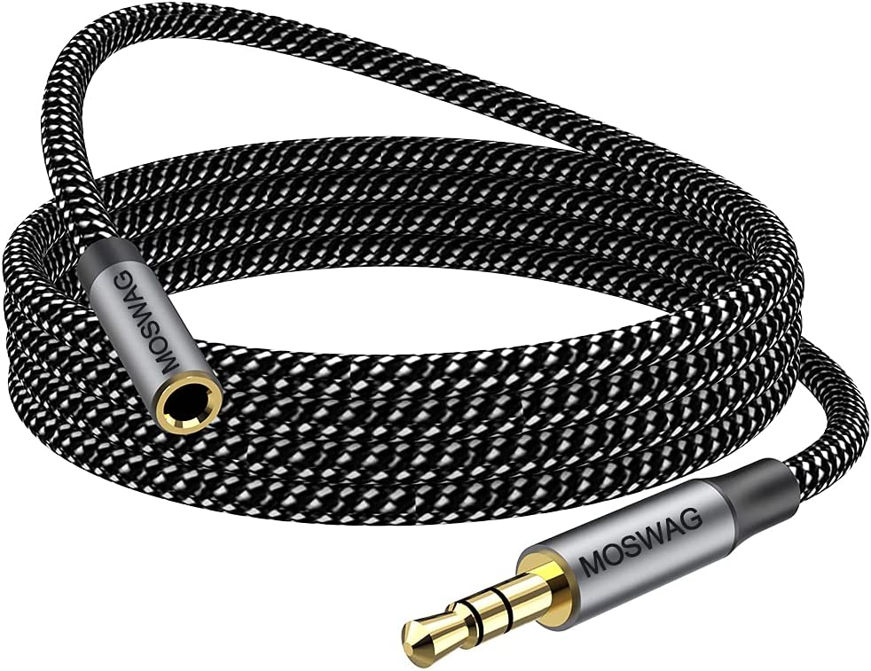 MOSWAG 10FT/3Meter 3.5mm Extension Cable Audio Male to Female Stereo Extension Adapter Nylon Braided Cord Compatible for Home/Car Stereos Smartphones Headphones Tablets Media Players and More