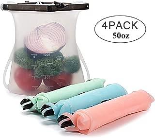 KUKE Bolsas de Silicona Reutilizables, 4 Piezas Bolsas Reutilizables para Almacenamiento de Alimentos, Bolsas Congelar Reutilizable para Sándwiches Verduras Carne (1.5L)