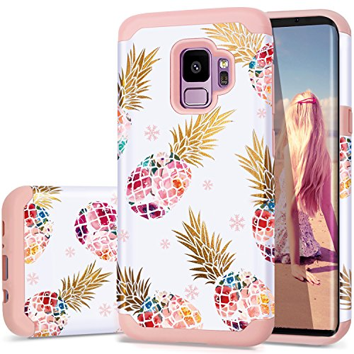 Samsung S9 Case,Galaxy S9 Pineapple Case,Fingic Slim&Shiny Colorful Pineapple Cover Hard PC&Soft Rubber Anti-Scratch Skin Cover for Samsung Galaxy S9 5.8'(2018),Floral Pineapple/Pink