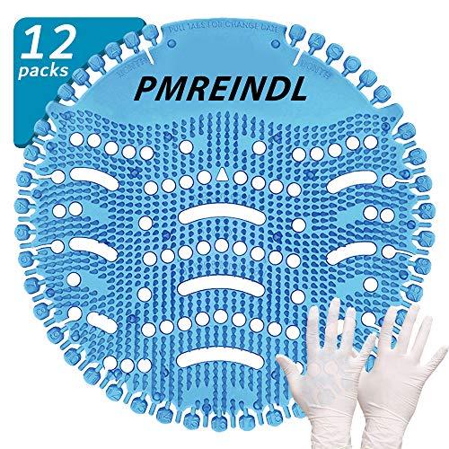 "PMREINDL Urinal Screen & Deodorizer Anti-Splash & Odor Neutralizer(12-Pack+Clean Gloves) by FANS&FUN for Bathrooms, Restrooms, Office, Restaurants, Schools""Blue:Ocean Mist Fragrance"" (Blue)"