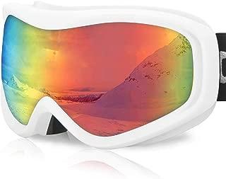 devembr OTG Ski Goggles Clear, Snowboard Goggles Anti-Fog, 100% UV Protection, Anti-Slip Strap, Helmet Compatible Snow Goggles for Men & Women, Skiing Snowmobile Skating (Black/White Frame)
