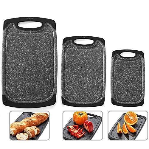 Bugucat Schneidebrett 3 Stücke, Hackbretter mit Saftrillen Kunststoff BPA-frei, Brotbretter Spülmaschinenfestes, Cutting Board rutschfest und Antibakteriell für Fleisch Gemüse Obst