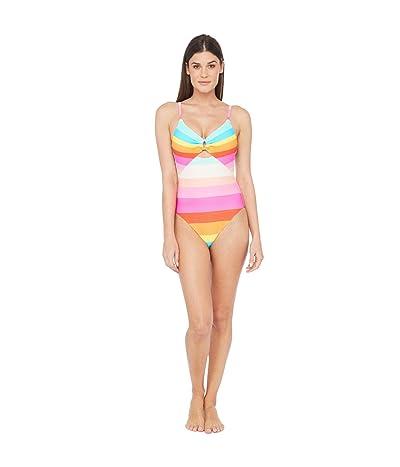 Trina Turk 25th Anniversary Sunrise Stripe Keyhole Maillot One-Piece Swimsuit Women